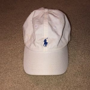 white and navy blue polo ralph lauren cap